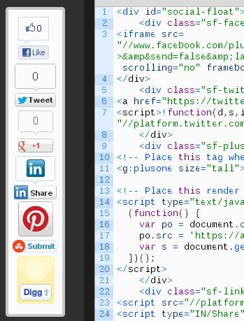 floating social button manually geekact
