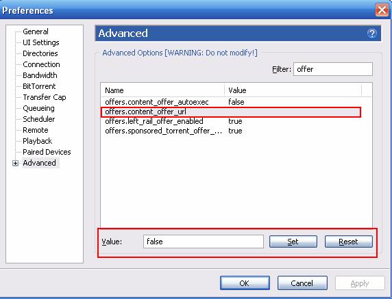 set false off ads utorrent geekact