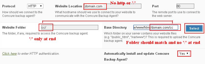 Comcure database backup agent