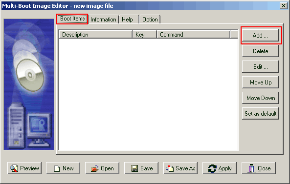 Dialog Box For List of Images and Boot Option