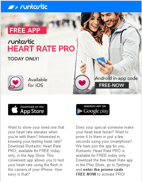 Promo Newsletter Runtastic Heart Rate Pro