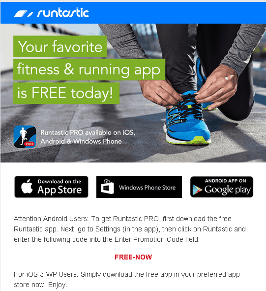 Runtastic Pro free with FREE-NOW