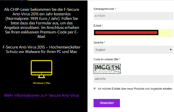 1 year Full License of F-Secure Antivirus 2016