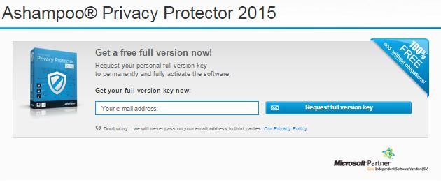 Free Key for Ashampoo Privacy Protector 2015