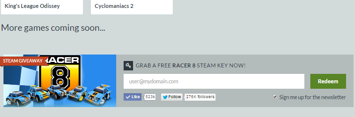 Enter email to get Racer 8 Free Steam Key