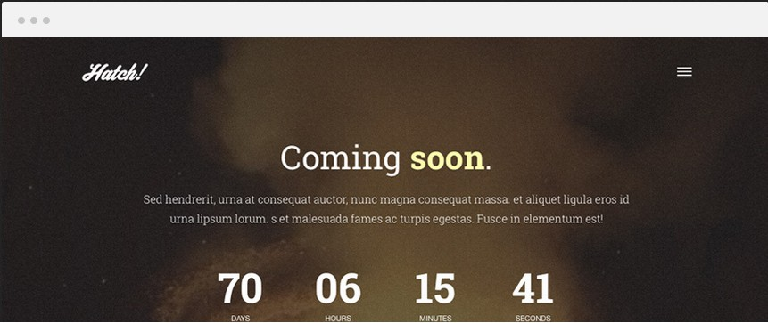 Hatch WordPress Launch theme