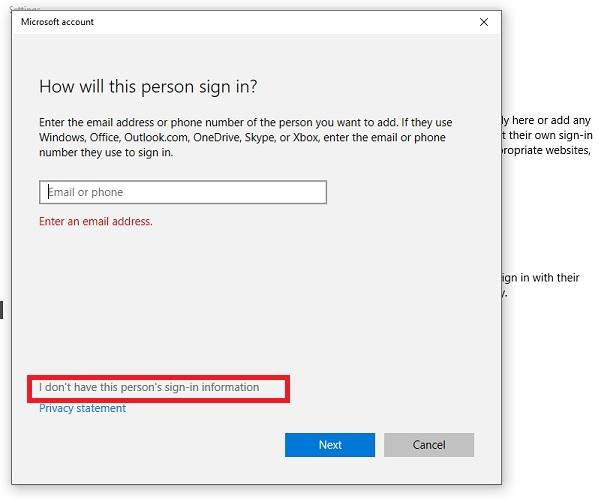 Windows 10 offline user