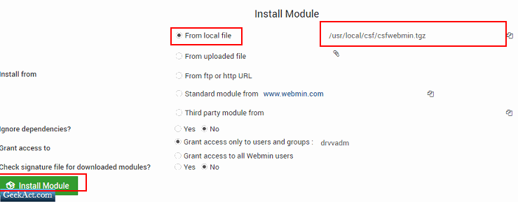 install CSF from local file webmin virtualmin