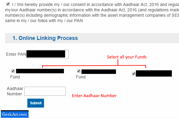 aadhaar mutual funds
