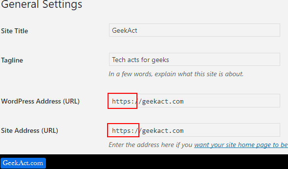 set HTTPS in wordpress setting