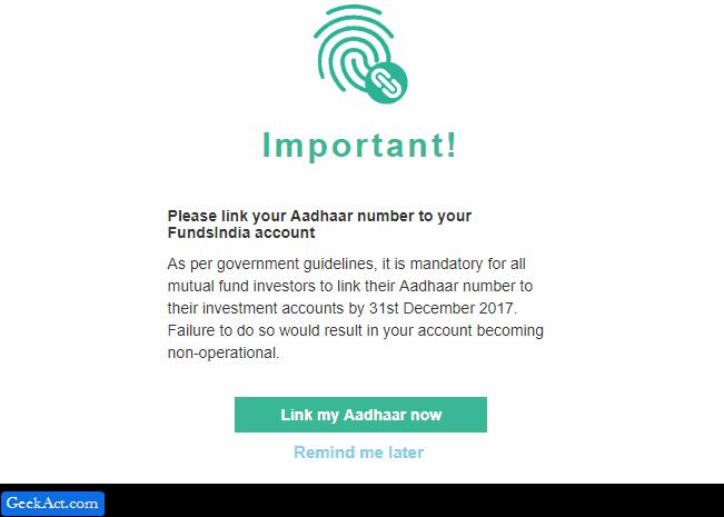 link aadhaar with fundsindia